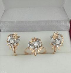 комплект с бриллиантами. из красного и белого золота.585 пробы. в Бишкек