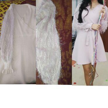 Açıq rozvu elbise. S m ölçülü xanımlara uyğundur. Qolları tüldür həmçi