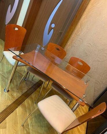 Metbex stolu 4 stulnan birlikde 220 manata satilir. Temiz taxtadir