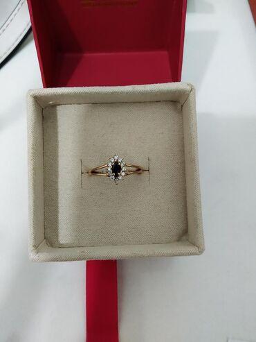 Кольцо с бриллиантами и тёмным сапфиром, 585 проба красное золото разм
