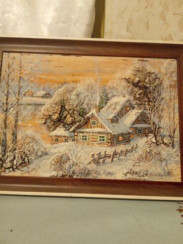 """10333 объявлений: Продается картина авторская """"Зимний пейзаж""""написано на бересте.Размер"""