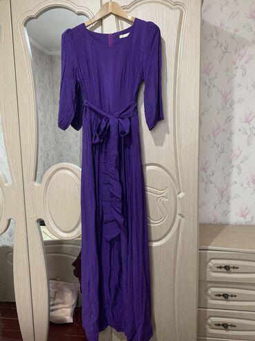 фиолетовое платье в пол в Кыргызстан: Платье в пол рукав 3/4, есть карманы на подкладе, одели 1 раз
