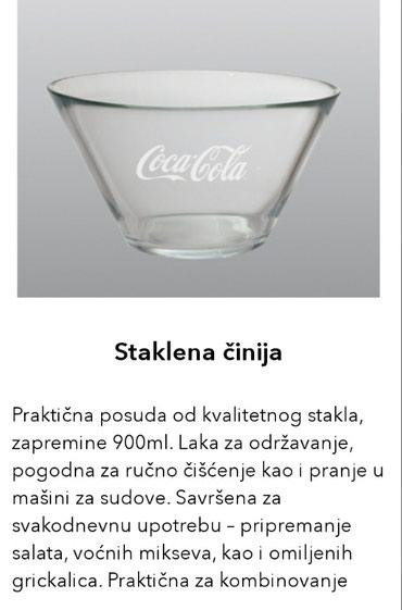 Zlice - Srbija: Coca Cola Koka Kola staklena činija NOVONovo nekorišćeno. Za sva