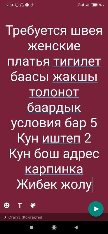 Швейное дело - Бишкек: Требуется швея женские платья все условия есть