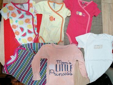 Dečija odeća i obuća - Sopot: Paket bodica, i jedan kompletic, za devojcicu, 74. Kompletic sivo beli