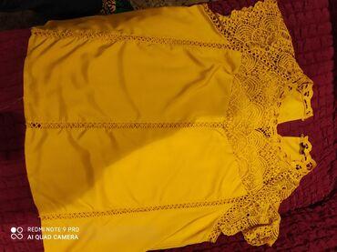 Блузка с кружевами,новая,горчичного цвета. Размер 48-50. 700с