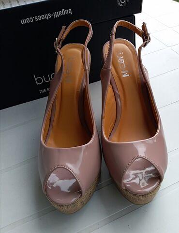 Posao u inostranstvu - Srbija: Prelepe sandale sa platformom puder roze, lak broj 38 (duzina