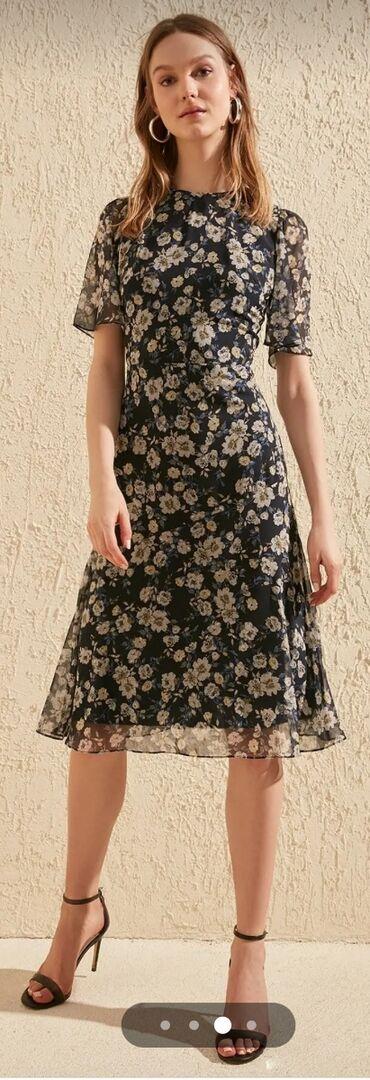 Lacivert Çiçek Desenli Kısa Kol Elbise38 bədən (M)%100 Polyester