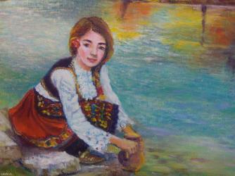 Jesenja sonata (zena sa violinom) ulje na platnu 60x50 cm - Smederevo
