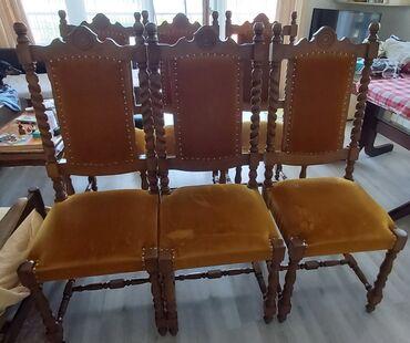 Prodajem 6 stolica od drveta.Puno drvo.Reljefne.Ostecen mebl i jednoj