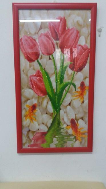 """величайшие картины в Кыргызстан: """"Тюльпаны"""" - картина 5Д из разноцветных стразов. Декор стены, комнаты"""