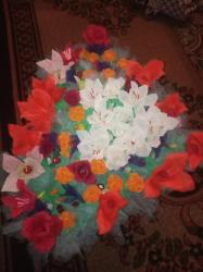 цветы живопись в Кыргызстан: Цветы из гафро бумаги Большие,маленькие,букеты и в шляпной