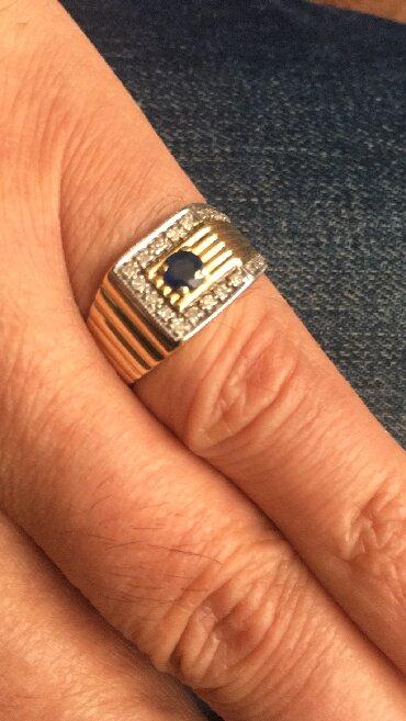 цена золота за грамм в Кыргызстан: Срочная цена! Мужской золотой перстень с сапфиром и бриллиантами. Золо