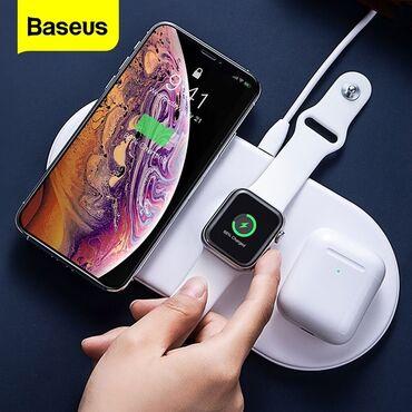 зарядное 5v в Азербайджан: Baseus brendinin original 3in1 wireless charger simsiz sarj  ▶ Materia