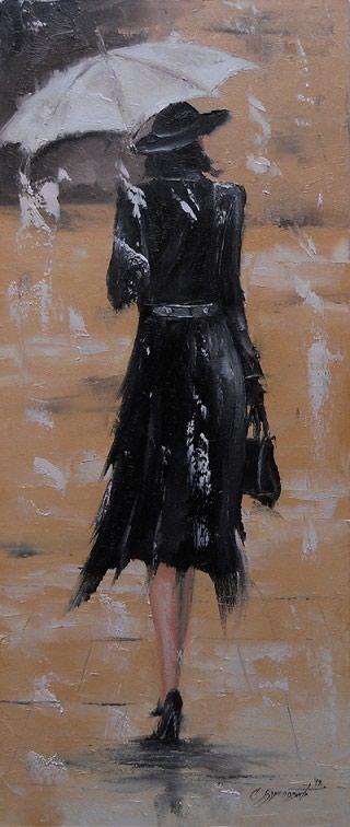 Kuća i bašta | Lebane: Dama u crnom. Ulje na platnu, blind ram 70x30, spahtla veci nanos