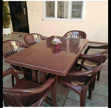 Cox keyfiyətli və davamli plastik stol və stul dəsti