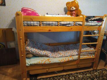 Двуспальные кровати в Кыргызстан: Продаю 2х ярусную кровать в отличном состоянии без матрасов. Длинна 2м