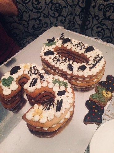 Торты - Кыргызстан: Торт медовый с крем-чизом  Можете выбрать любое оформление: Ягоды, шо