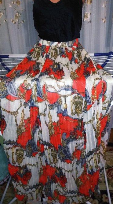 Юбка плиссе пояс- резинке,шифоновая длинная. в Бишкек