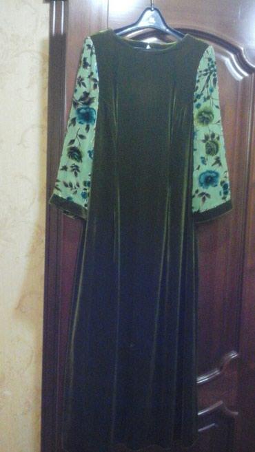 Платье 46-48. цвет оливковый. состояние нового.  цена 1000 сом в Бишкек