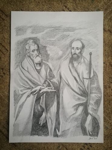 Crtez olovkom,prema el Greku.Apostoli Petar I Pavle.Dimenzije malo