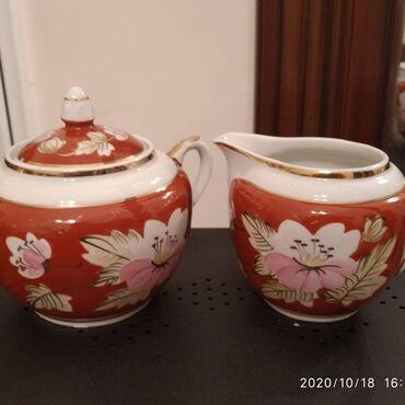 Два предмета из прекрасного старинного сервиза фабрики ВЕРБИЛКИ.Qədi
