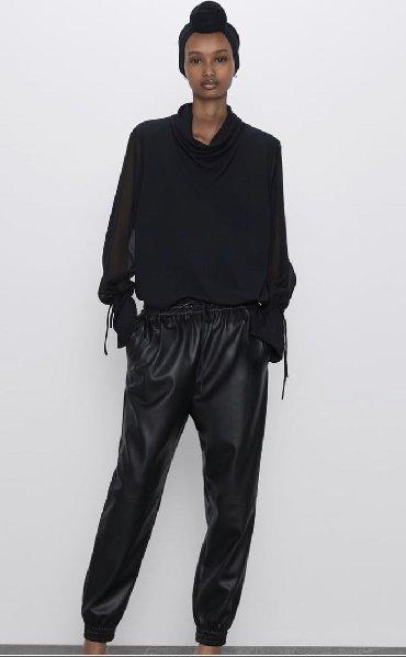 женские-брюки-черные в Кыргызстан: Трендовые штанишки из эко-кожи Zara. Заказывала,размер не подошел. Раз