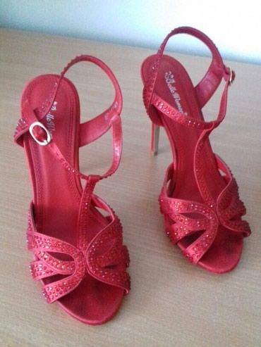 Sandale u crvenoj boji sa cirkonima. Broj 39 - Subotica