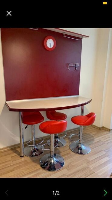барная стойка в Кыргызстан: Кухонный стол «барная стойка». Со стенкой. Туран мебель