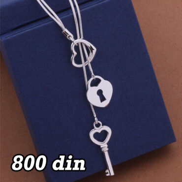 Ogrlica ključ i srce- Srebro 925 Poseduje žig
