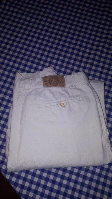 Muske pantalone 100% lan bele sirina u pojasu 80 cm duzina 90 +5 cm - Belgrade