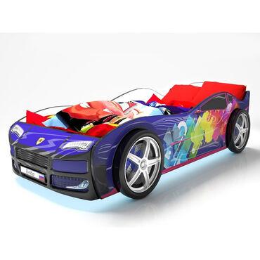 Кровать машина Турбо, цвет синий, подсветка дна и фар, пластиковые кол