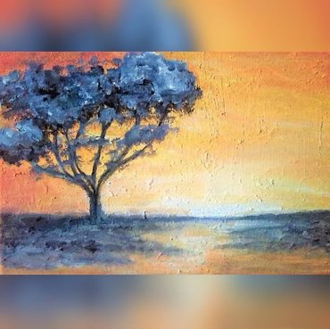 """Today's acrylic painting is called """"Sunset in Africa"""" ...  - Beograd"""