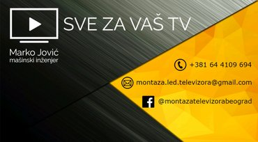 Vršim montažu televizora na zid,instalaciju kablova,povezivanje na int - Beograd