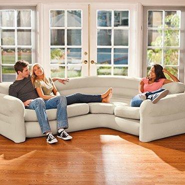 Intex68575 надувной угловой диван corner sofa, 257*203*76см в Qazax