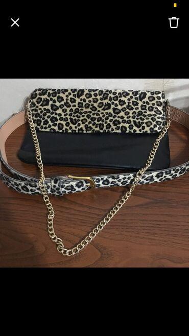 Продаю модный комплект : сумочка-клач и ремень леопардовый принт, клач