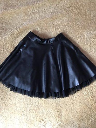 Crna kozna suknja sa tilom. Univerzalna velicina