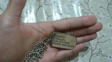 Bakı şəhərində Boyunbağı Künye + sep + ad yazma + qab + hediyelik paket