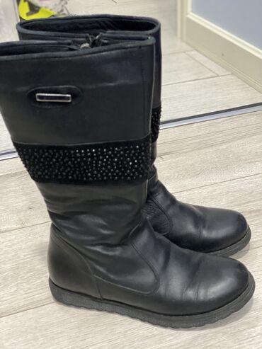 Турецкие сапожки для девочек, кожаные с натуральным мехом, черные. 34