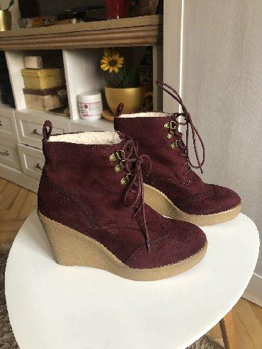Cizme za sneg - Srbija: SNIZENE, Zenske cizme, BAS KAO NOVE, bordo boje, sa krznom unutra. Nos