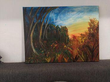AKRIL NA PLATNU - Jesenji suton - veličine 40x30