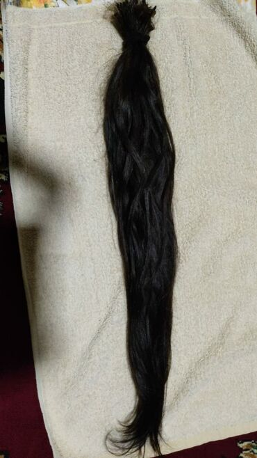 Təbii saç 60 sm uzunluq, 1 dəfə qaynaq olunub