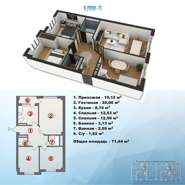 Продажа квартир - Бишкек: Продается квартира: Элитка, Аламедин 1, 3 комнаты, 72 кв. м