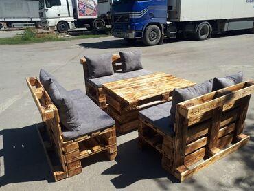 табуретка скамейка в Кыргызстан: Мебель из поддонов паллет. Кровать садовая мебель, мебель для кафе