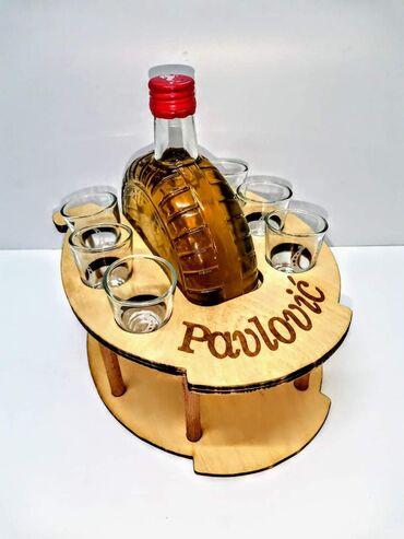 Postolje za flašu i čašice za rakiju + potmetači za čašice za rakiju