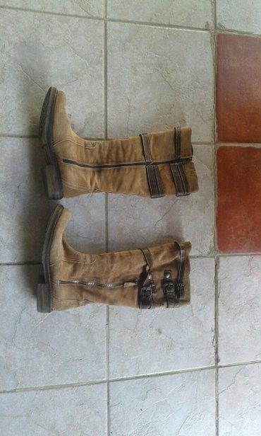 Ženska obuća | Backa Palanka: Cizme prevrnuta koza broj 37 italijanske