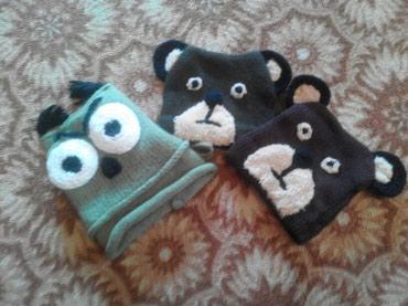 детская осенняя одежда в Кыргызстан: Вязаные шапочки на 1-2 годика.  # шапка, шапочка, мишки, сова, детс