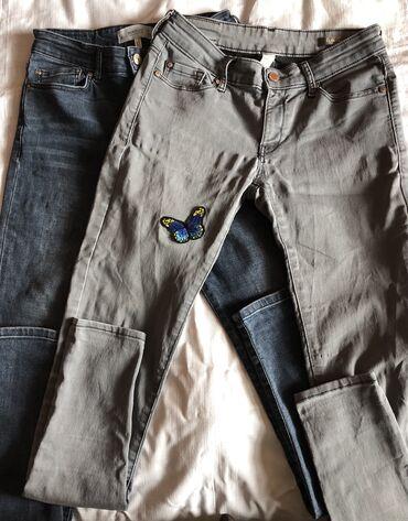 Джинсы - Б/у - Бишкек: Продаю джинсы Б/у фирма «Манго», размер 36, цвет синий и серый, состоя