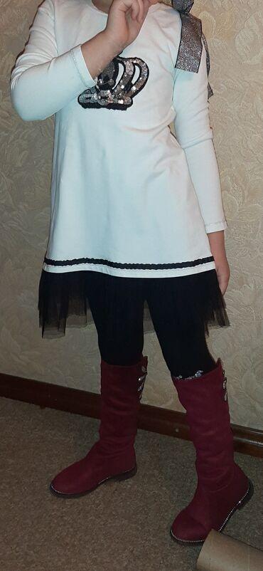 Платье трикотажное стрейч 6-8лет в идеальном состоянии 600 сом