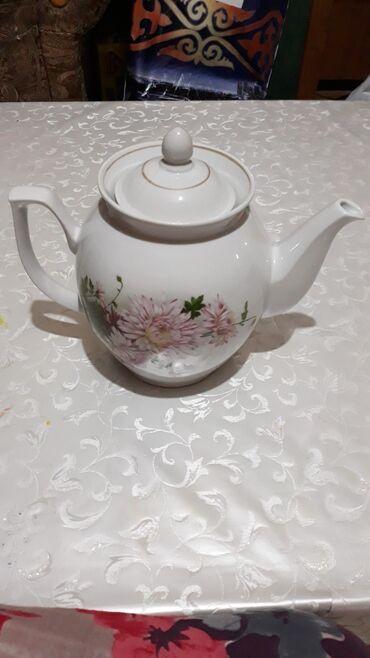 Чайники - Кыргызстан: Большой чайник. Советский фарфор. Обьем 3 литра